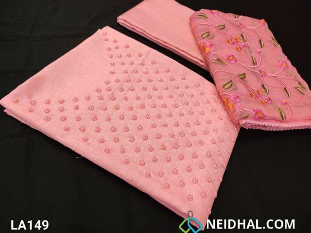 CODE LA149 : Designer Light baby Pink Semi Tussar Unstitched salwar material(coarse fabric requires lining) with pearl and bead work on yoke, pink santoon bottom, embroidery work on organza dupatta with tapings