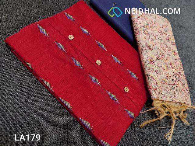 CODE LA179 : Thread Woven Red Silk Cotton  unstitched salwar material(requires lining) with wodden buttons on yoke, blue  cotton bottom, embroidery work on fancy silk cotton dupatta(tapings has to be stitched)
