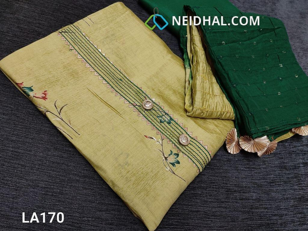CODE LA170 :  Designer Floral Printed Light Green Viscous Silk unstitched salwar material(requires lining) with fancy buttons and tapings on yoke, green silk cotton bottom, heavy sequence and thread  work on silk cotton dupatta(taping needs on the sides)