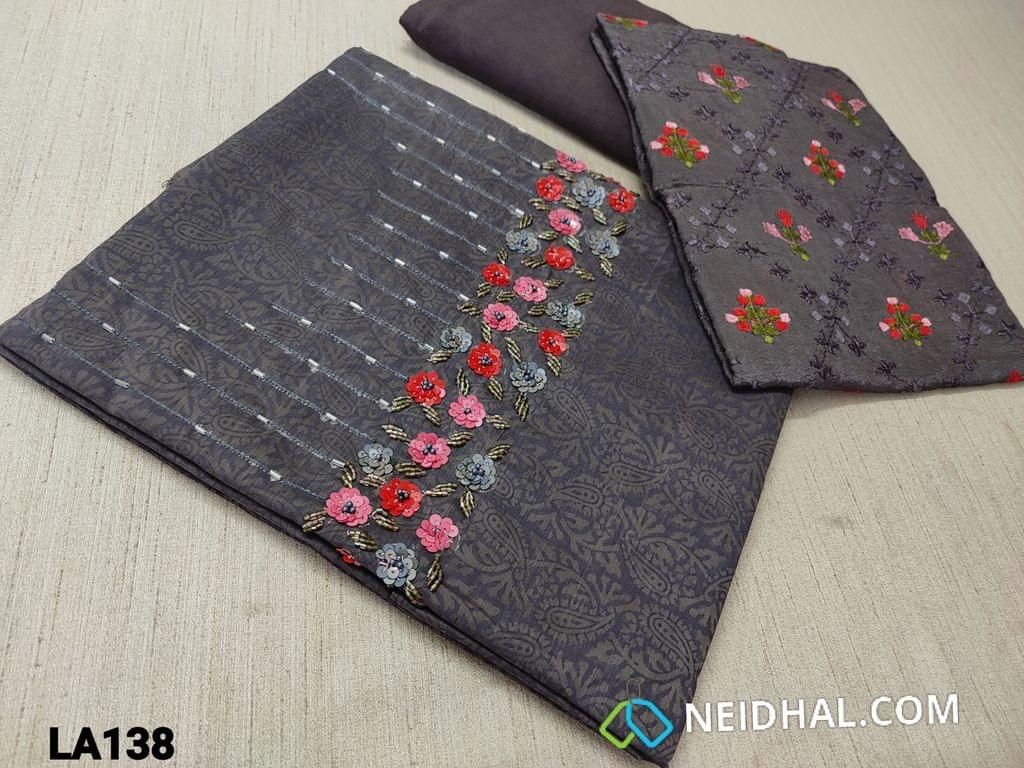 CODE LA138 : Designer Block Printed Grey Silk Cotton unstitched Salwar material(requires lining) with cut bead and sequence work on yoke, grey silk cotton or cotton or santoon bottom, embroidery work on organza dupatta with tassels