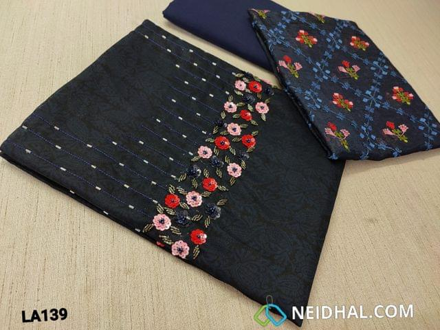 CODE LA139 : Designer Block Printed Dark Blue Silk Cotton unstitched Salwar material(requires lining) with cut bead and sequence work on yoke, blue silk cotton or cotton or santoon bottom, embroidery work on organza dupatta with tassels