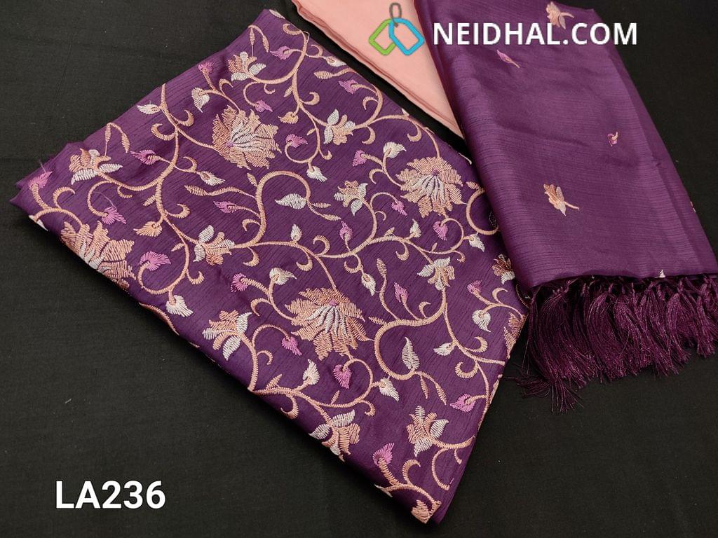 CODE LA 236: Designer Purple  Fancy Silk Cotton unstitched salwar material(requires lining) with embroidery work on yoke, light peach silk cotton bottom, floral embroidery work on  silk dupatta