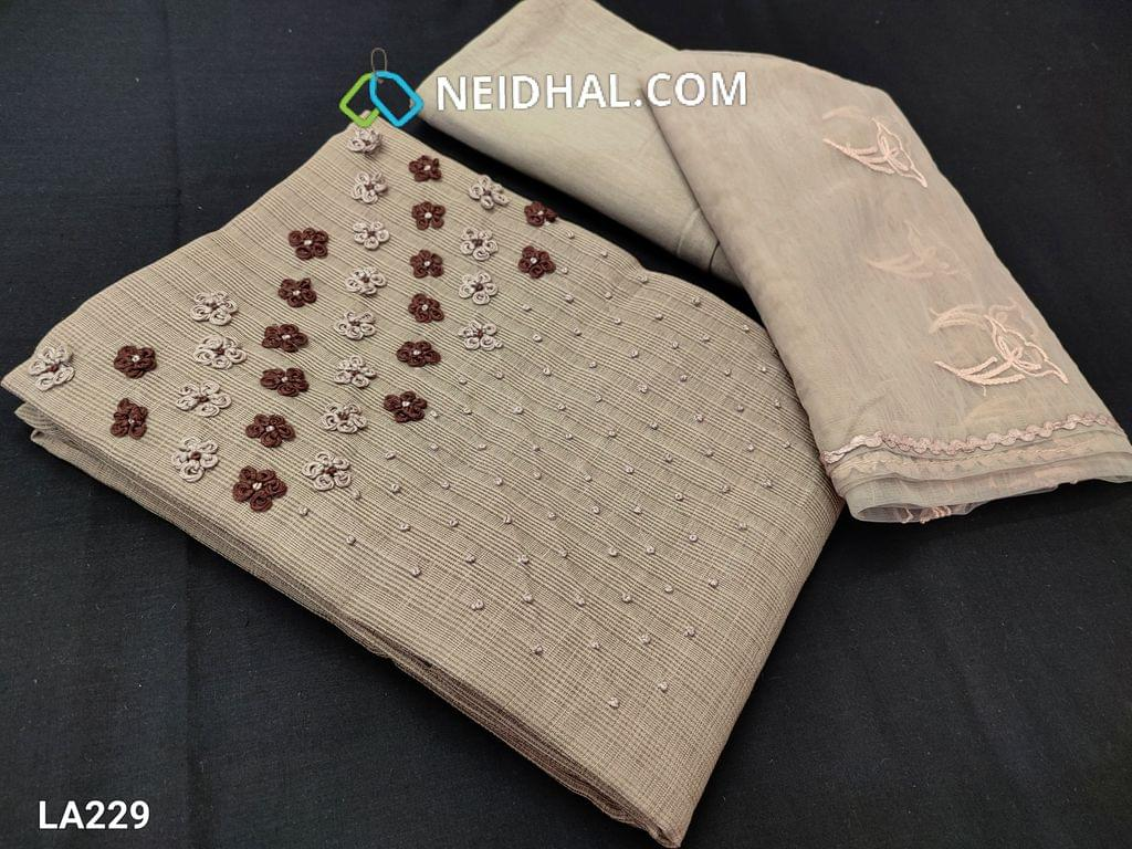 CODE LA229 : Designer Beige Jaquard Silk Cotton unstitched salwar material(requires lining) with french knot work on yoke, drum dyed cotton fabric (thin fabric, can be used lining or bottom), embroidery work on organza dupatta with lace tapings