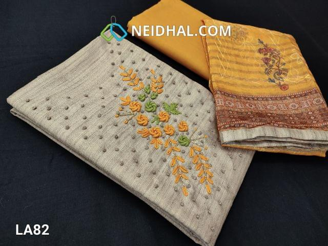 CODE LA82 : Designer Dark Beige Semi Jute Silk Cotton unstitched salwar material(requires lining) with french knot work on yoke, Fenu greek Yellow cotton bottom, embroidery work on silk cotton dupatta with tapings