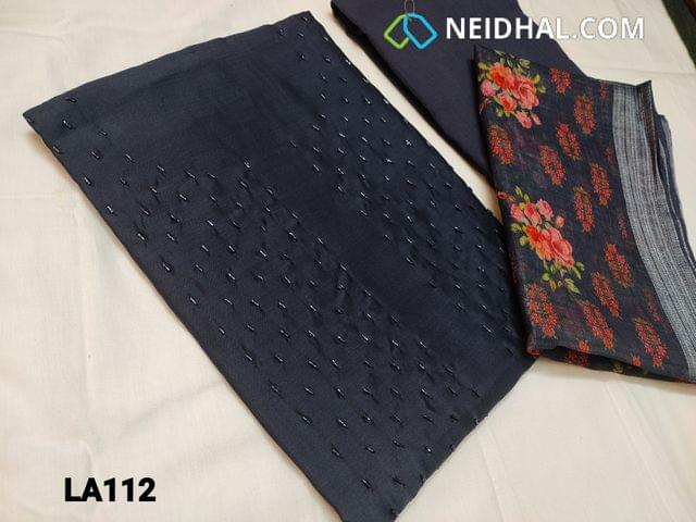 CODE LA112 : Designer Blue Silk CottonUnstitched salwar material(coarse fabric requires lining) with cut bead work on yoke, cotton bottom, digital printed linen dupatta with tapings