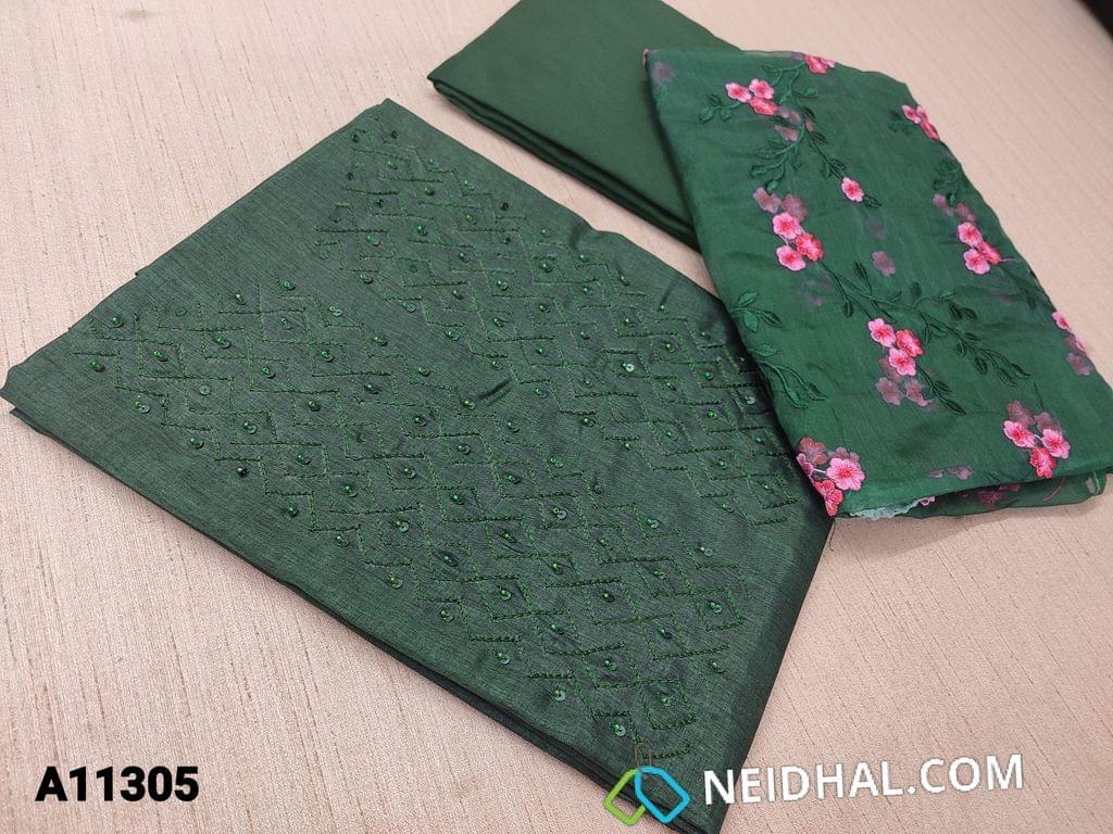 CODE A11305 : Designer Green Semi Tussar unstitched salwar material(requires lining) with bead and sequence  and thread embroidery work on yoke, Green santoon bottom, floral embroidery work on organza dupatta with tapings.