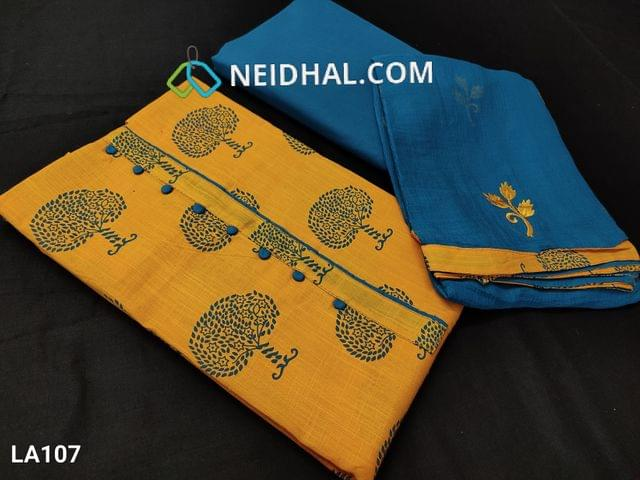 CODE LA107 : Tree Printed Bright Yellow Slub Cotton unstitched salwar material(requires lining) with potli buttons on yoke, blue  cotton bottom, embroidery work on chiffon dupatta with tapings