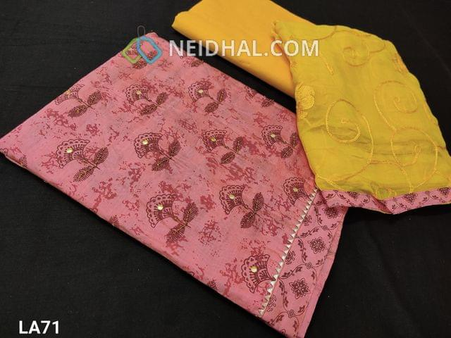 CODE LA71 : Printed Pink Silk Cotton Unstitched salwar material(requires lining) with Thread , bead and foil mirror work on front side, yellow cotton bottom, embroidery work on chiffon dupatta with tapings