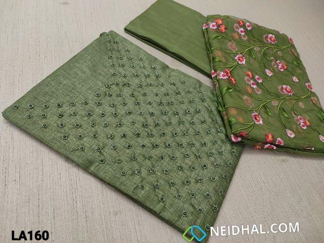 CODE LA160 : Designer Olive Green Semi Tussar Unstitched salwar material(coarse fabric requires lining) with pearl and bead work on yoke, green santoon bottom, embroidery work on organza dupatta with tapings