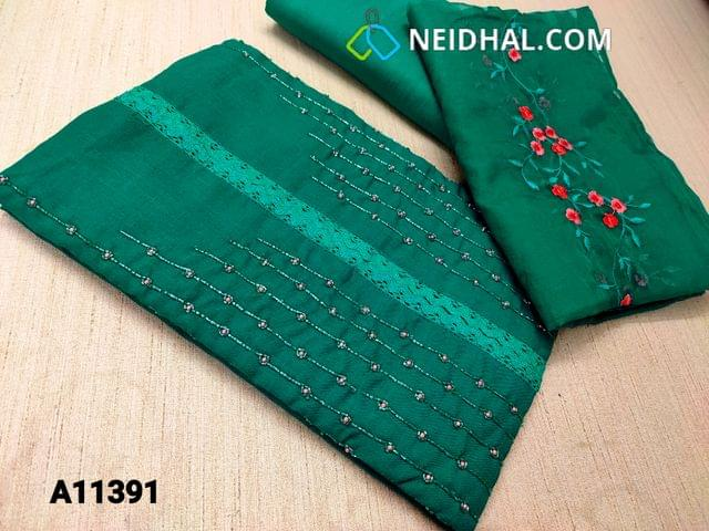 CODE A11391 : Designer Green Spun Silk Cotton unstitched salwar material(requires lining) with bead, pipe and lace work on yoke, green cotton bottom, embroidery organza dupatta with tapings.