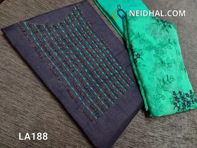 CODE LA188 : Designer Dark Blue Semi Tussar Unstitched salwar material(coarse fabric requires lining) with bead and thread work on yoke, turquoise green silk cotton bottom, embroidery work on organza dupatta with tapings