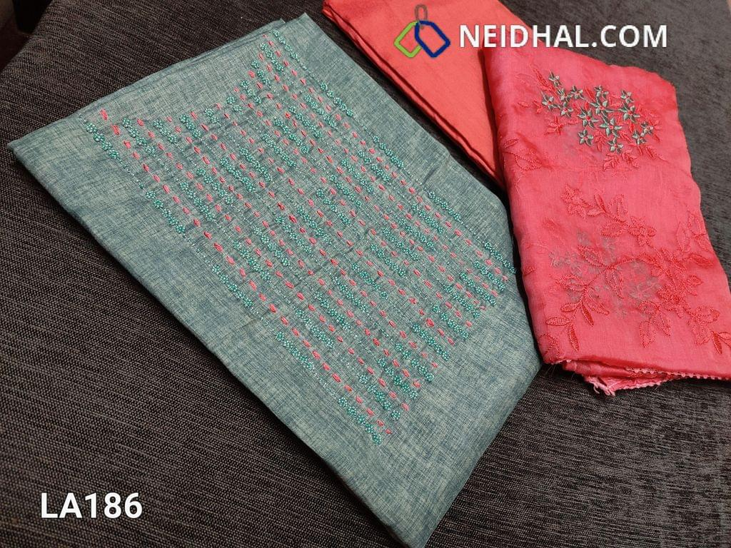 CODE LK186 : Designer Light Blueish Grey Semi Tussar Unstitched salwar material(coarse fabric requires lining) with bead and thread work on yoke, peachish pink silk cotton bottom, embroidery work on organza dupatta with tapings