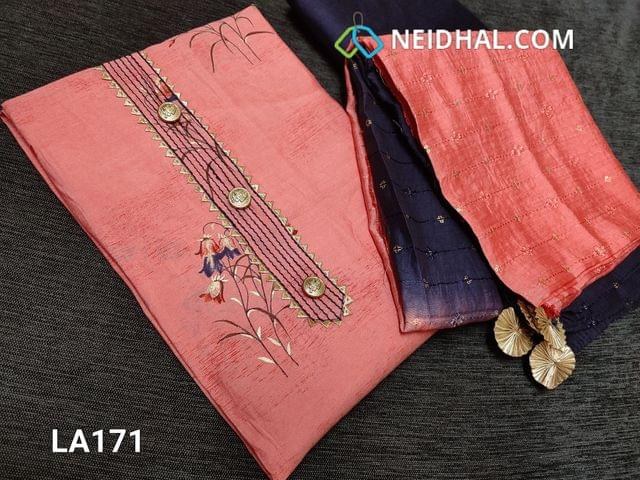 CODE LA171 :  Designer Floral Printed Pink Viscous Silk unstitched salwar material(requires lining) with fancy buttons and tapings on yoke, blue silk cotton bottom, heavy sequence and thread  work on silk cotton dupatta(taping needs on the sides)