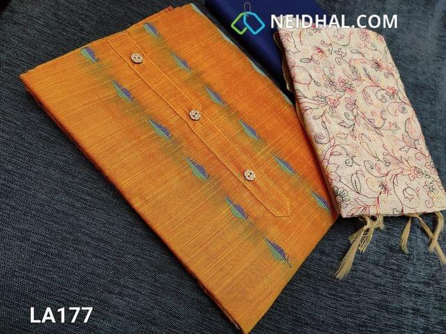 CODE LA177 : Thread Woven Yellow Silk Cotton  unstitched salwar material(requires lining) with wodden buttons on yoke, blue  cotton bottom, embroidery work on fancy silk cotton dupatta(tapings has to be stitched)