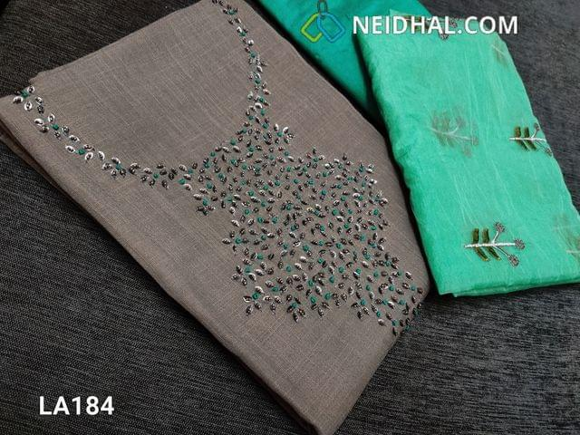 CODE LA184 :  Designer Dark Grey Linen Cotton unstitched salwar material(requires lining) with bead, sequence and french knot work on yoke, turquoise green silk cotton bottom, embroidery work on organza dupattawith tapings