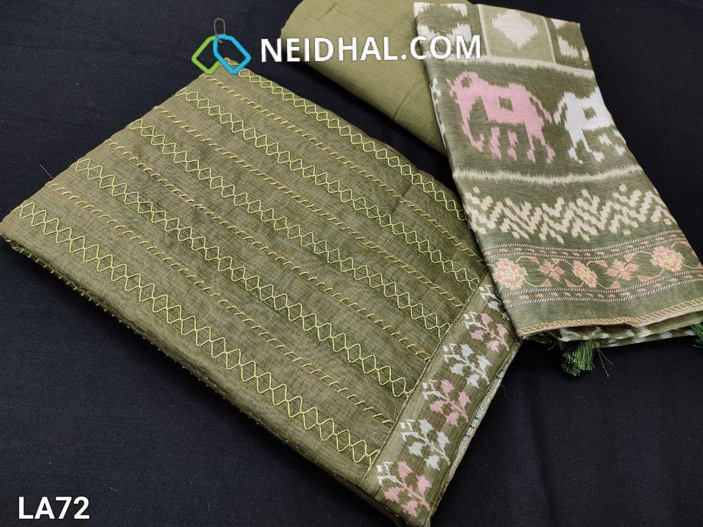 CODE LA72 : Premium Dark Olive Green Silk Cotton Unstitched salwar material(requires lining) with Thread stitch work on yoke, dark olive green drum dyed cotton  (thin fabric, can be used lining or bottom), patola printed  short width silk cotton dupatta with tassels