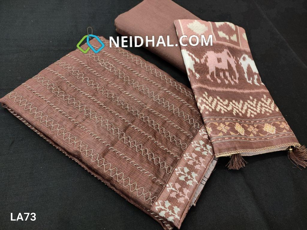 CODE LA 73 : Premium Coffee Brown Silk Cotton Unstitched salwar material(requires lining) with Thread stitch work on yoke, coffee brown drum dyed cotton  (thin fabric, can be used lining or bottom), patola printed  short width silk cotton dupatta with tassels