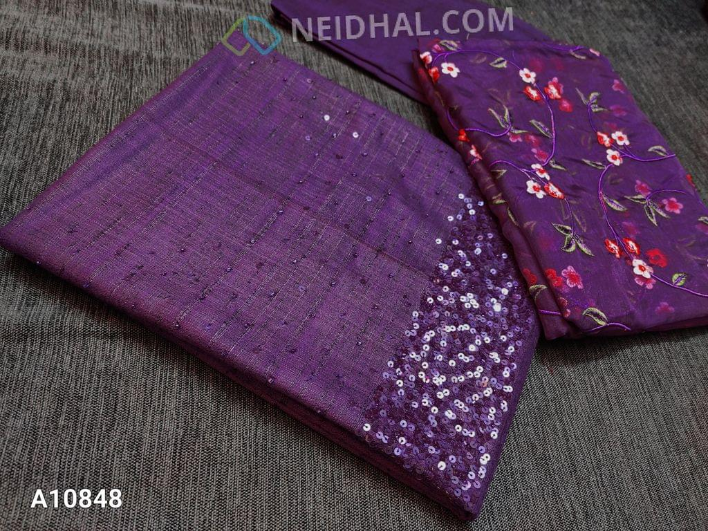 CODE A10848 : Designer Purple Slub Silk Cotton unstitched salwar material(requires lining) with heavy sequence and pipe work on yoke, purple santoon/taffeta bottom, Heavy floral embroidery work on organza dupatta with lace tapings