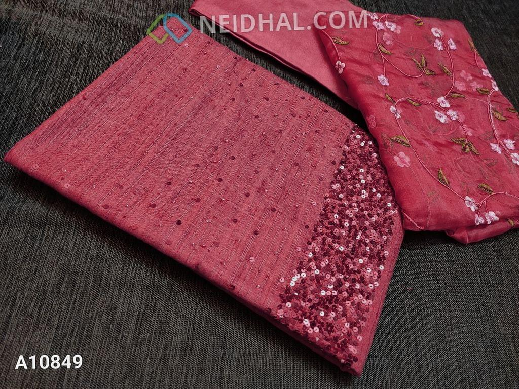 CODE A10849 : Designer Brick Red Slub Silk Cotton unstitched salwar material(requires lining) with heavy sequence and pipe work on yoke, Brick red santoon/taffeta bottom, Heavy floral embroidery work on organza dupatta with lace tapings