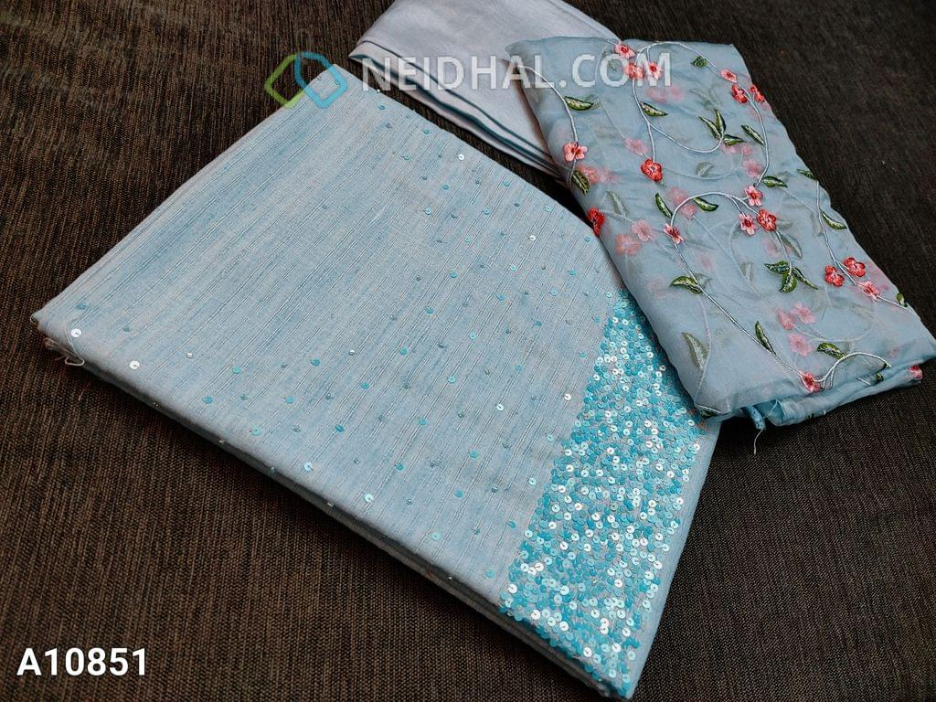 CODE A10851 : Designer Icy Blue Slub Silk Cotton unstitched salwar material(requires lining) with heavy sequence and pipe work on yoke, Icy blue santoon/taffeta bottom, Heavy floral embroidery work on organza dupatta with lace tapings