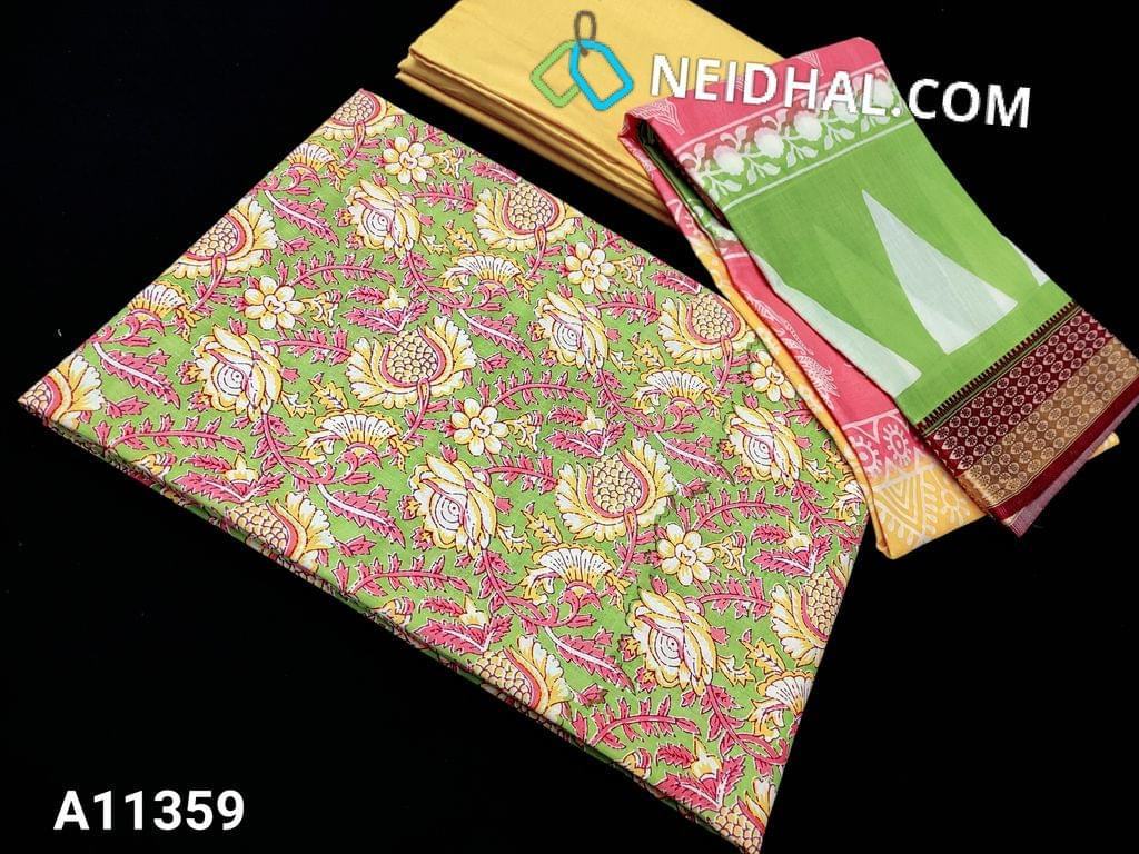 CODE A11359 : Floral printed Light Green Cotton unstitched salwar material(requires lining), yellow cotton bottom, printed soft mul cotton dupatta