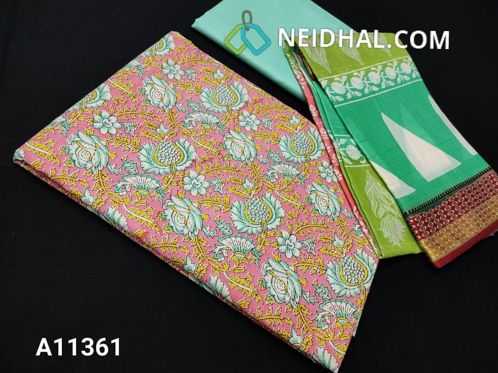 CODE A11361 : Floral printed Pink Cotton unstitched salwar material(requires lining), light aqua green cotton bottom, printed soft mul cotton dupatta