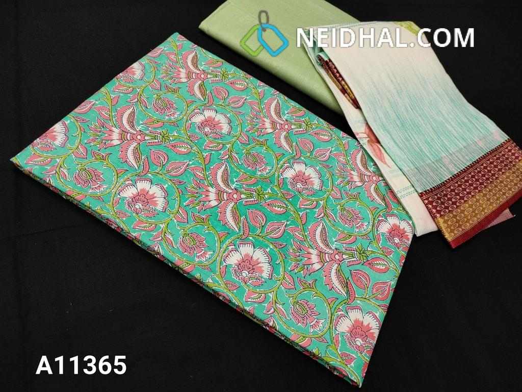 CODE A11365 :  Floral printed Turquoise Green Cotton unstitched salwar material(requires lining), pista green cotton bottom, floral printed soft mul cotton dupatta
