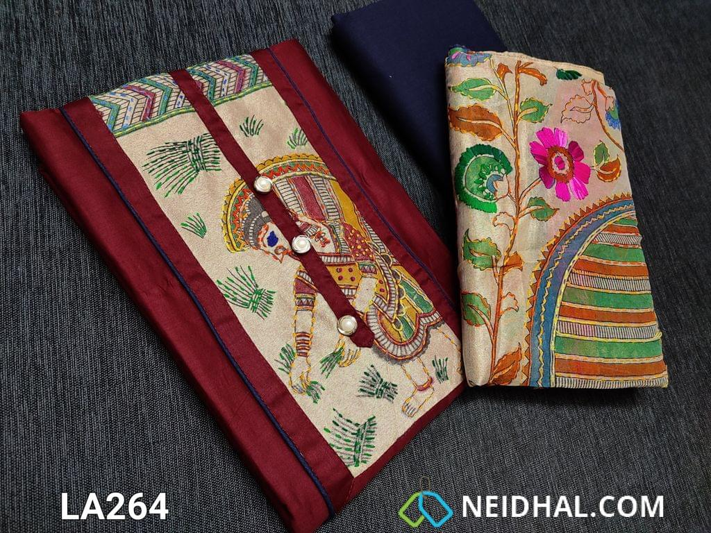 CODE LA264 : Designer Maroon Satin Cotton unstitched salwar material with Kantha patch work (Design on yoke and its color will vary from piece to piece) on yoke, daman patch, blue cotton bottom, kantha work on kalamkari printed Golden Beige silk cotton dupatta with tapings (colour of embroidery and print might vary for each set)