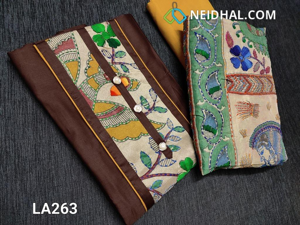CODE LA263 : Designer Dark Brown Satin Cotton unstitched salwar material with Kantha patch work (Design on yoke and its color will vary from piece to piece) on yoke, daman patch, Yellow cotton bottom, kantha work on kalamkari printed Golden Beige silk cotton dupatta with tapings (colour of embroidery and print might vary for each set)