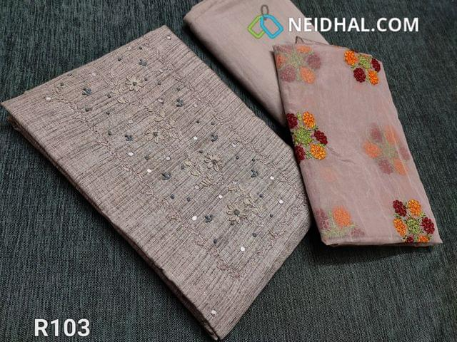 CODE R103 :  Grey Semi Jute Silk Cotton unstitched Salwar material (Coarse fabric requires lining), with french knot work, faux mirror and embroidery work on yoke, drum dyed fabric can be used as bottom or lining, Short width Organza dupatta with embroidery work and cut work taping