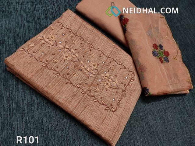CODE R101 :  Light Brown Semi Jute Silk Cotton unstitched Salwar material (Coarse fabric requires lining), with french knot work, faux mirror and embroidery work on yoke, drum dyed fabric can be used as bottom or lining, Short width Organza dupatta with embroidery work and cut work taping