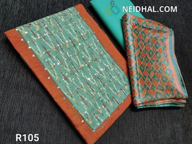 CODE R105 : Orange Handloom Cotton unstitched salwar material(requires lining) , Ikkat yoke patch with sequins and thread embroidery work, daman ikkat patch with work, Light turquoise Green cotton bottom, Patola printed Art silk stole length dupatta
