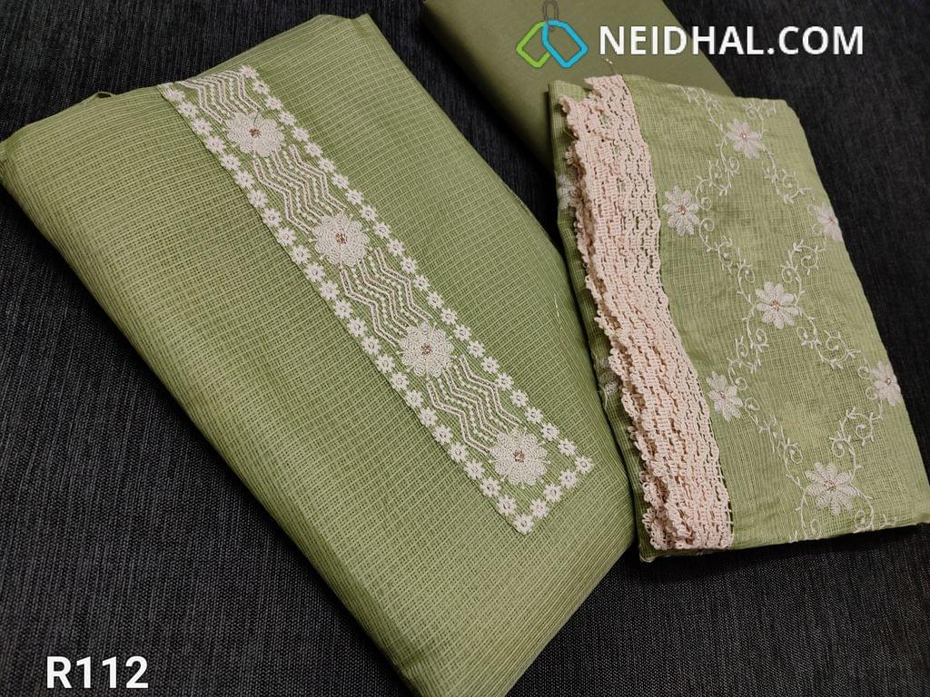 CODE R112 : Cardamom Green fancy kota unstitched Salwar material(requires lining), Thread embroidery work on yoke, lace and embroidery work on daman, Cotton bottom, Fancy kota dupatta with thread work all over and lace taping