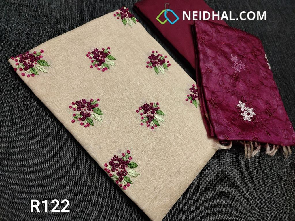 CODE R122 : Designer Beige Semi Tussar unstitched Salwar material(Coarse Fabric requires lining), french knot and thread work on yoke, Beetroot purple Silk cotton, Organza short width dupatta in dual shade with heavy thread floral embroidery