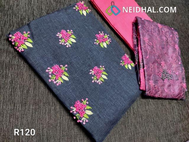 CODE R120 : Designer Greyish Blue Semi Tussar unstitched Salwar material(Coarse Fabric requires lining), french knot and thread work on yoke, Pink Silk cotton, Organza short width dupatta in dual shade with heavy thread floral embroidery