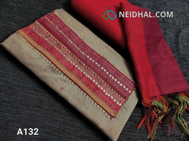 CODE  A132 : Silver Beige Silk cotton unstitched Salwar material(requires lining) with Gotta lace work, bead and faux mirror work done on yoke, faux mirror work on front side, Red cotton bottom, Fancy woven Silk cotton dupatta with tassels
