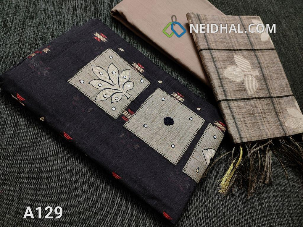 CODE  A129 : Greyish Blue Silk Cotton unstitched Salwar material, Thread and faux mirror work on Yoke patch, Weaving patterns and faux mirror work on front side, Daman patch, Greyish Beige Cotton bottom, Benarasi woven silk cotton dupatta with borders on two sides and thin zari borders.