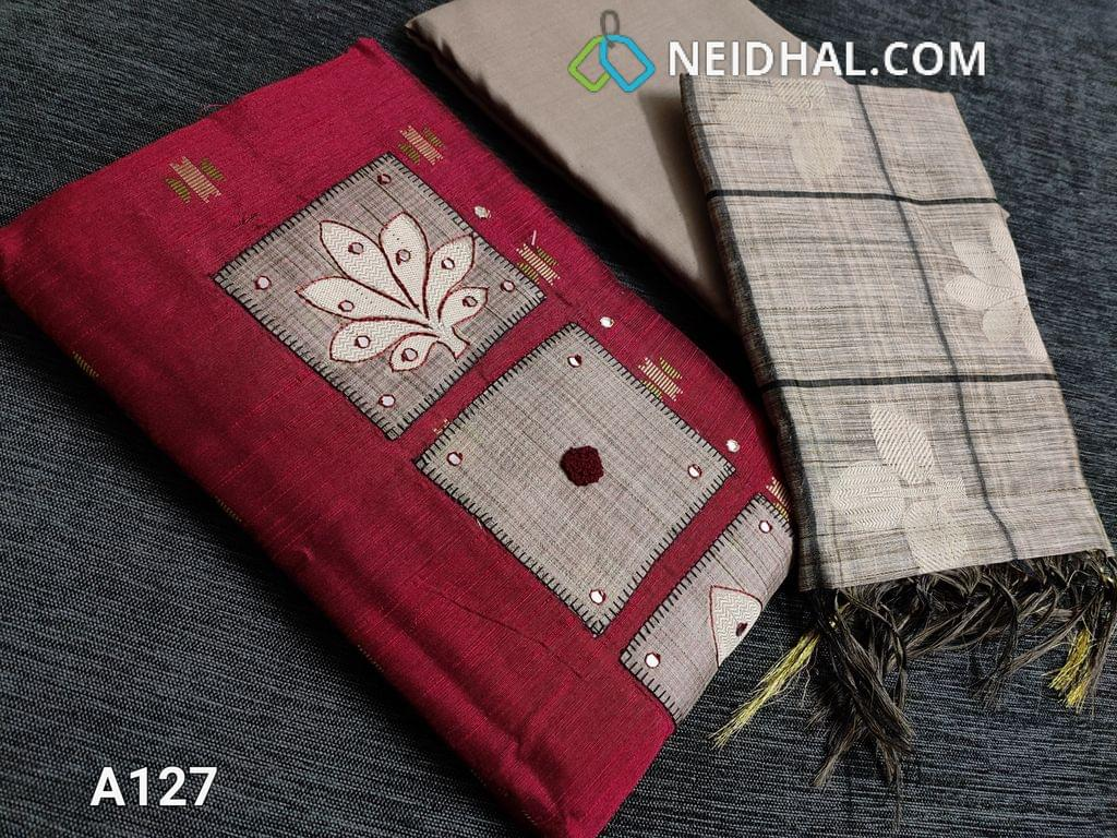 CODE  A127 : Dark Pink Silk Cotton unstitched Salwar material, Thread and faux mirror work on Yoke patch, Weaving patterns and faux mirror work on front side, Daman patch, Greyish Beige Cotton bottom, Benarasi woven silk cotton dupatta with borders on two sides and thin zari borders.
