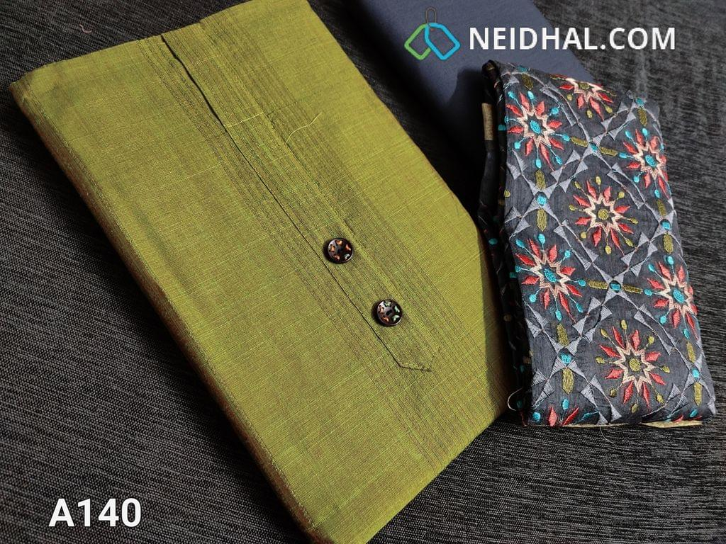 CODE A140 :  Mehandi Green Unstitched Salwar material(requires lining) Textured fabric, Simple yoke with fancy buttons, Grey cotton bottom, Heavy Colorful embroidery work done on silk cotton dupatta with tassels