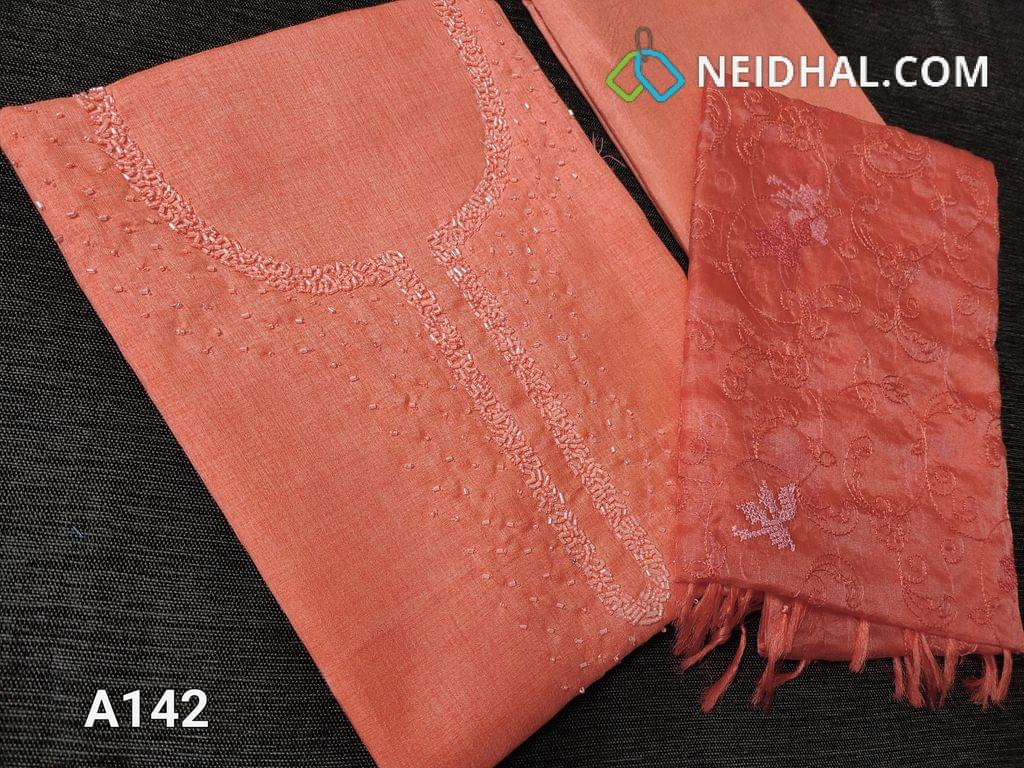 CODE A142 :  Peach Semi Tussar unstitched salwar material(Coarse fabric requires lining) with cut bead and round bead work on yoke, santoon bottom, Oraganza dupatta with beautiful embroidery work