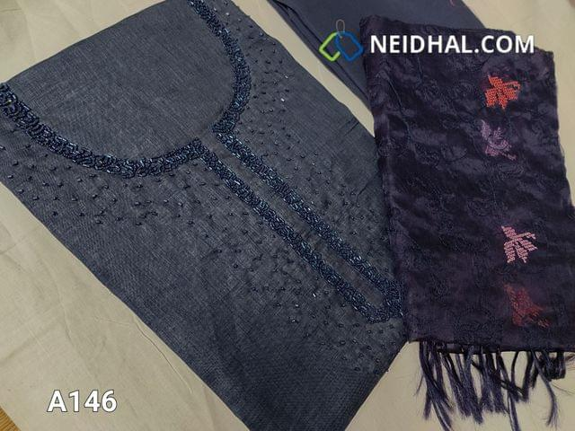 CODE A146 :  Dark Greyish Blue Maroon Semi Tussar unstitched salwar material(Coarse fabric requires lining) with cut bead and round bead work on yoke, santoon bottom, Oraganza dupatta with beautiful embroidery work