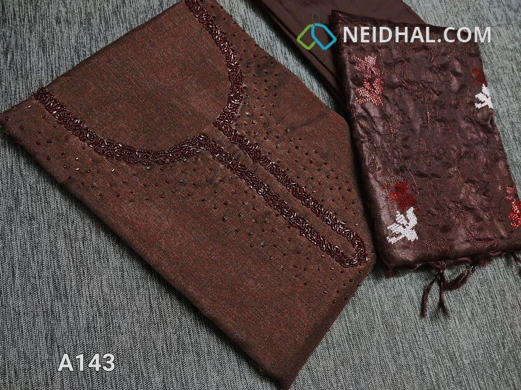 CODE A143 :  Dark Brown Maroon Semi Tussar unstitched salwar material(Coarse fabric requires lining) with cut bead and round bead work on yoke, santoon bottom, Oraganza dupatta with beautiful embroidery work
