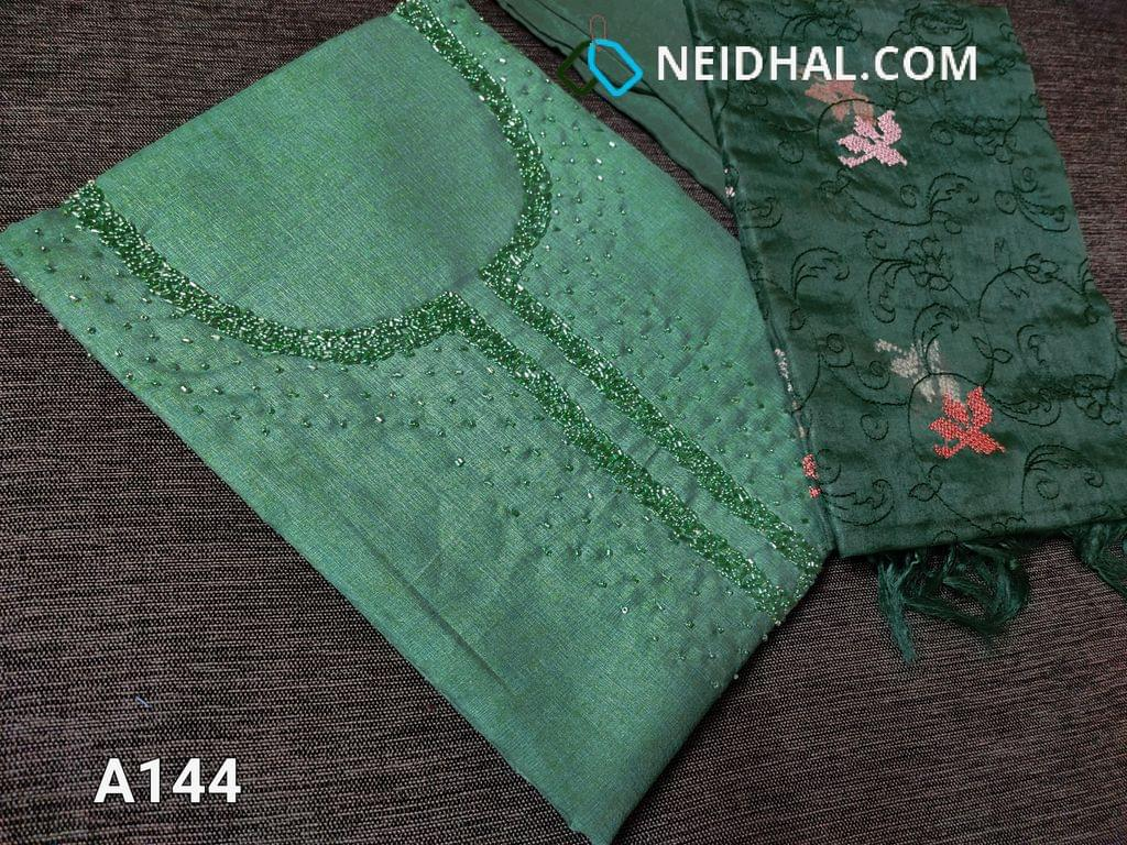 CODE A144 :  Green Maroon Semi Tussar unstitched salwar material(Coarse fabric requires lining) with cut bead and round bead work on yoke, santoon bottom, Oraganza dupatta with beautiful embroidery work