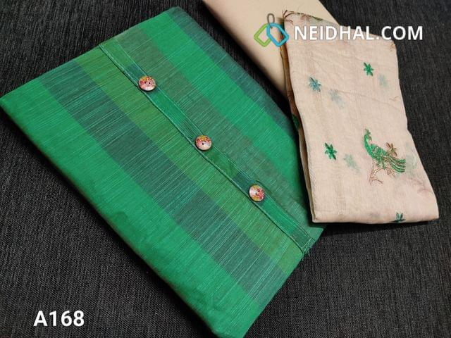 CODE A168 :  Green Silk cotton unstitched salwar material(requires lining) with simple yoke and fancy buttons, beige cotton bottom, beige Silk cotton dupatta with embroidery work