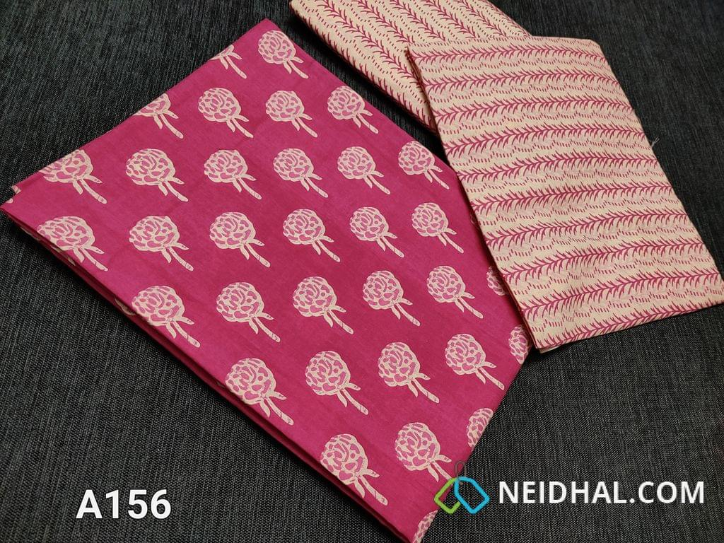 CODE A156 :  Pink Printed Soft cotton unstitched salwar material(requires lining), Printed soft cotton bottom, Printed Mul cotton dupatta((taping needs to be stitched)