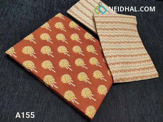 CODE A155 :  Rust Orange Printed Soft cotton unstitched salwar material(requires lining), Printed soft cotton bottom, Printed Mul cotton dupatta((taping needs to be stitched)