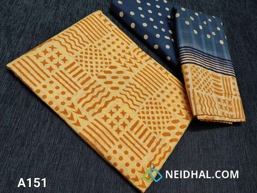 CODE A151 :  Yellow Jaquard Cotton unstitched Salwar material with block prints on both sides, potla prints on Blue cotton bottom, block printed jaquard cotton dupatta(taping needs to be stitched)
