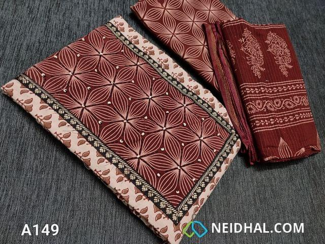 CODE A149 : Bagru Printed Beige Pure Cotton unstitched salwar material(requires lining) with steam stitch, wodden bead work on yoke, daman patch, block printed maroon cotton bottom, blocked printed soft mul cotton dupatta wih woven borders(requires taping)