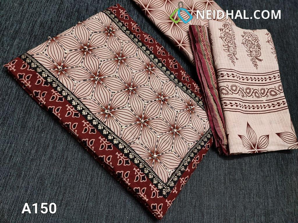 CODE A150 : Bagru Printed Maroon Pure Cotton unstitched salwar material(requires lining) with steam stitch, wodden bead work on yoke, daman patch, block printed beige cotton bottom, blocked printed soft mul cotton dupatta wih woven borders(requires taping)