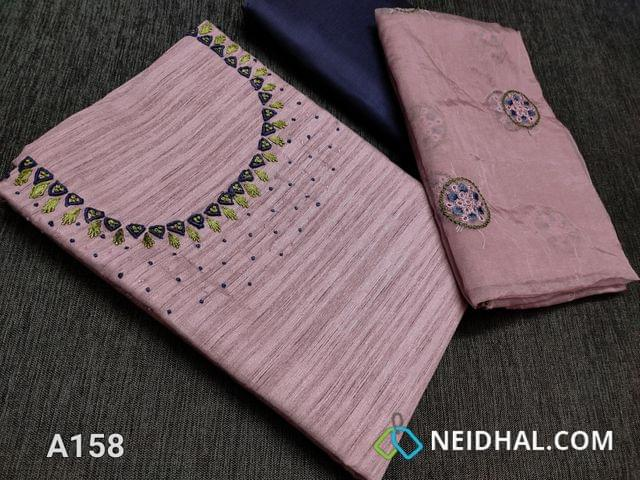 CODE A158 :  Purplish Pink Semi tussar unstitched Salwar material(Coarse material requires lining) with cut bead work and thread work on yoke, Dark greyish blue silk cotton bottom, Embroidery work on Organza dupatta